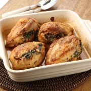 Parmesan, pancetta and spinach stuffed chicken
